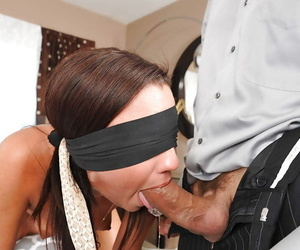 Blindfolded wife Amara Romani screaming during ass fucking from big dick