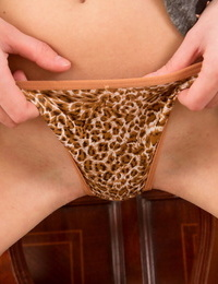 Horny teen Ava teasing in her provocative leopard panties