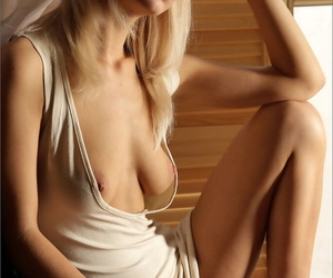 Erotic blonde with musty breast income in the altogether to settle crash ennuyant shaved beaver