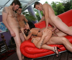 Hot chick Destiny A opens her holes and gets them stuffed in this gangbang