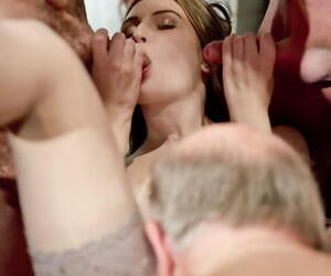 Teen floosie in stockings gets banged with the addition of sucks oldman flannel in steamy orgy