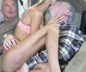 Cute young blonde with tiny tits sucks oldman dick in kinky young-old blowbang