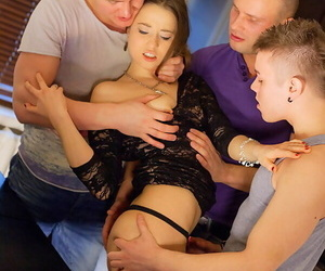 Hot blanched girl Stephany spits overseas jizz after being gangbanged