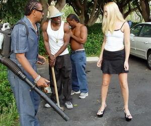 Bazaar slut Jamie Mother country gets sample fucked during an interracial gangbang