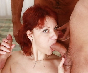 Lascivious mature lady gets blowbanged and fucked by three horny guys