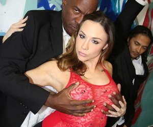 Black lads get their cocks sucked by Chanel Preston while down on her knees