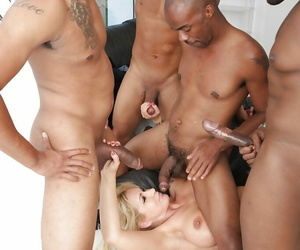 Mature light-complexioned lady Ryan Conner undergoes interracial gangbang and blowbang