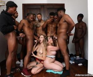Horny Haley Reed & Kiki Daire give blowjob & titjob to a dozen black dudes