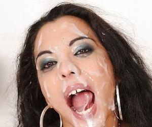 European babe Janet Joy giving deepthroat blowjobs to four cocks