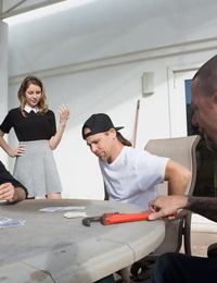 Rude teen Kinsley Eden gets punished by the hired help in group fuck lesson