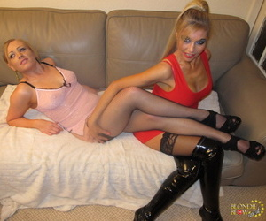 Mother and step daughter team up for hot ball licking blowbang session