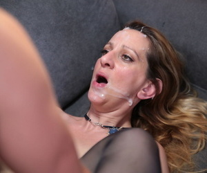 Of age battle-axe gets double fucked and jizzed more than at near gangbang dissemble