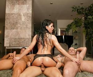 MILF pornstar Rebeca Linares gets double fucked in a sweaty gangbang