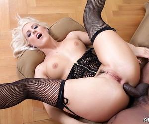 Platinum blonde slut Blanche Bradburry does a gangbang with black studs