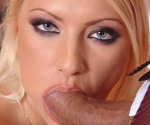 Hot blonde Gabriela gives the special naked deepthroat treatment at the salon