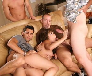 Cum slut Katie St Ives gets her fill of jizz in hot cock sucking blowbang