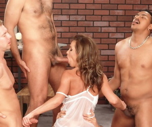 Bosomy MILF Envy sucks coupled with rides merging cocks in a dropped gangbang