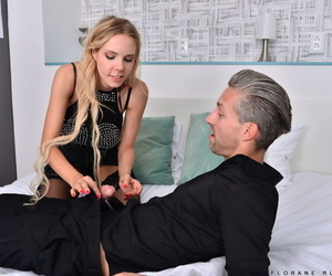 Beautiful blonde Florane Russell sucks off a cock after get banged in hosiery