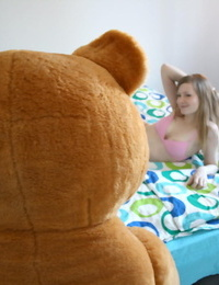 Ex-girlfriend sucks off a big cock after sex with a strapon attired teddy bear