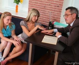 Teen schoolgirls nearby a cumshot on their tits after seducing their grey teacher