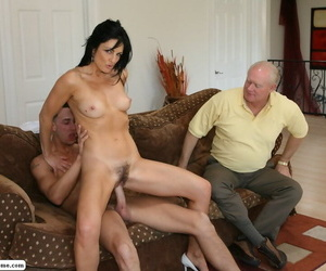 Horny wife Russell gets herself some young man cock while hubby looks on