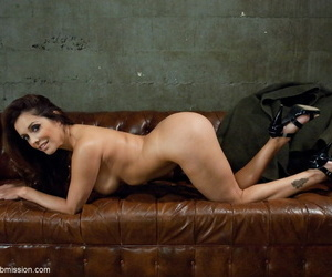 MILF Francesca Le strips to her heels on a leather chesterfield for her Master