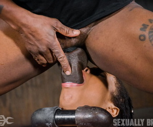 Petite black girl Kira Noir is forced into rough sex while restrained