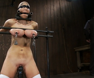 Amateur Alia Janine shows her huge tits & gets tortured in white stockings
