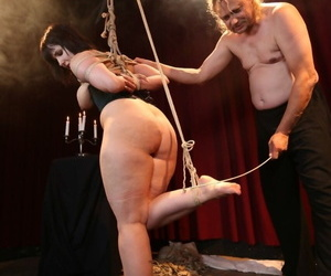 Black haired fatty Pina Deluxe toyed with lollipop & rope tied for BDSM fun