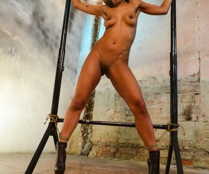 Super hot brunette Isabella Chrystin bound & ball gagged naked & tit-grabbed