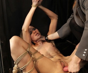 Femdom mistress & treats skinny rope tied sub to nipple clamps & rough toying
