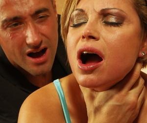 Short haired matureSzilvia Lauren enjoys rough BDSM banging with clothespins
