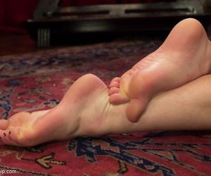 Mistress Aiden Starr makes new sub Natalie Moore crawl naked & lick feet