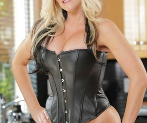Sexy chesty blonde MILF Alena Croft sheds drop out of sight corset showing the brush chunky jugs