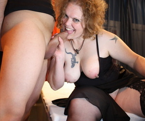 Adult redhead not far from large breasts lives out her gangbang day-dream