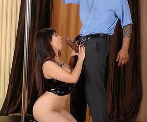Curvy Asian Tigerr Benson baring big boobs before giving bj on knees
