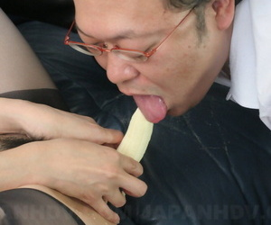 Japanese girl Sayuri Shiraishi pleasures her beaver with a fruits and veggies