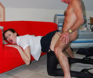 Mature woman bends over to suck oldman cock wearing hot black stockings