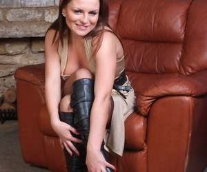 Hot MILF in high heel boots flashes big tits & hot panty upskirt in stockings
