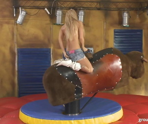 Indecision chicks ride a fervent bull during line up intercourse pint-sized