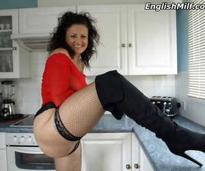 Mature lady from the UK Daniella English shows her big ass in a black thong