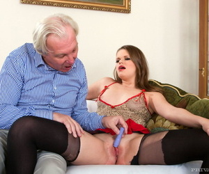 Wild young slut spreading for oldman fuck before draining young mans balls