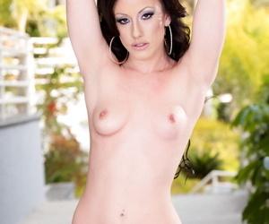 Brunette chick Jennifer White rips open her lingerie before riding a cock
