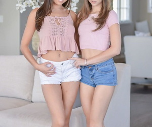 Hot stepsisters Melissa Moore & Riley Reid peel to pretence thick as thieves tits & nice botheration
