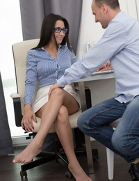 Leggy secretary Chanel Lux goes ass to mouth with her boss behind closed doors