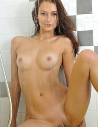 Brunette solo girl Yarina A flaunting tiny breasts in shower