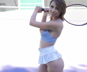Stunning tennis player Cece Capella shows off her curves and holes on court