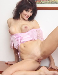 Experienced son Melisa slips off satin undies beside show port side twat off for pre-eminent time