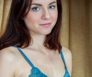 Blue peek at Aurmi shows off her small tits & gives bar-room of hot undress twat