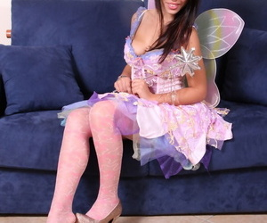 Sexy brunette Petra removes high heeled shoes in a cute cosplay costume